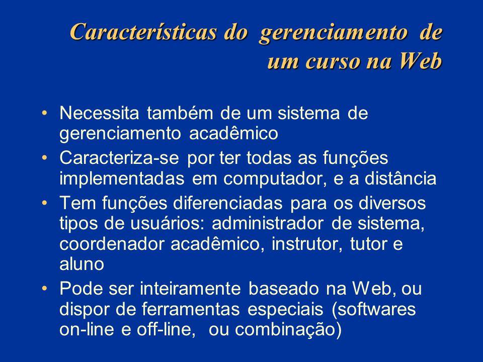 Características do gerenciamento de um curso na Web Necessita também de um sistema de gerenciamento acadêmico Caracteriza-se por ter todas as funções