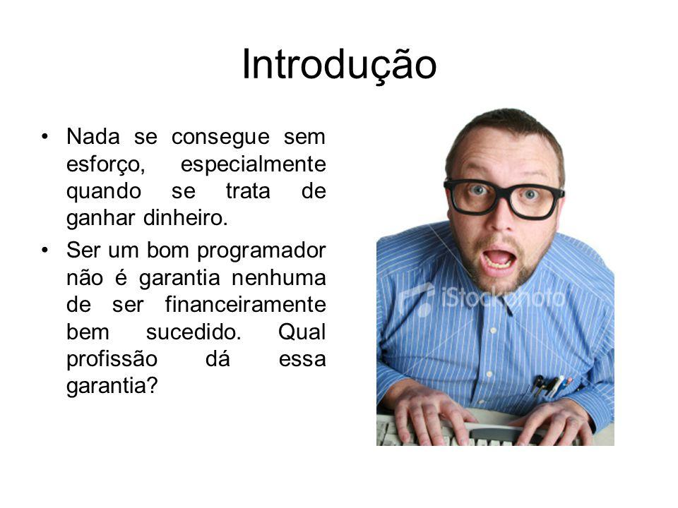 Introdução Nada se consegue sem esforço, especialmente quando se trata de ganhar dinheiro. Ser um bom programador não é garantia nenhuma de ser financ