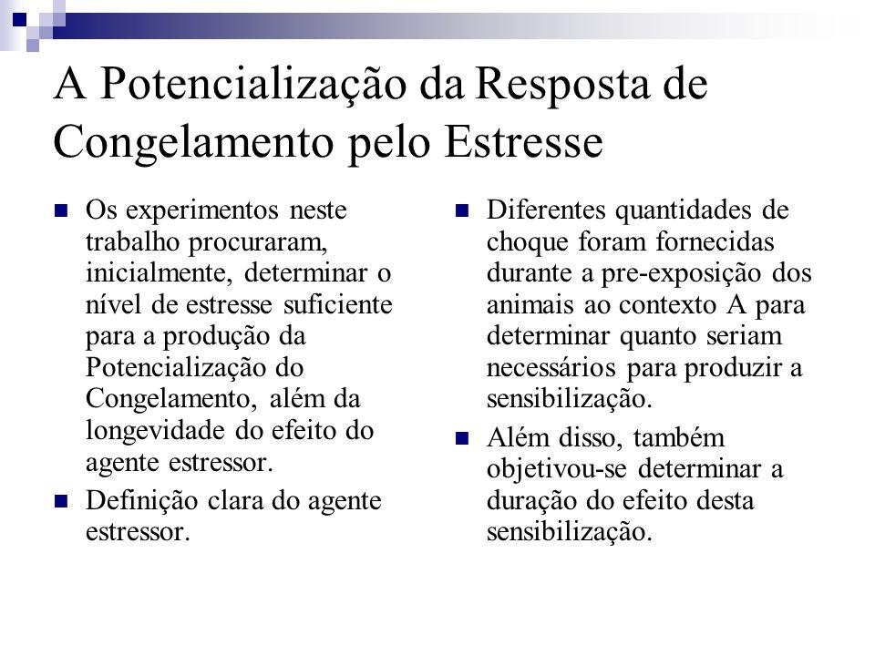 Os experimentos neste trabalho procuraram, inicialmente, determinar o nível de estresse suficiente para a produção da Potencialização do Congelamento, além da longevidade do efeito do agente estressor.