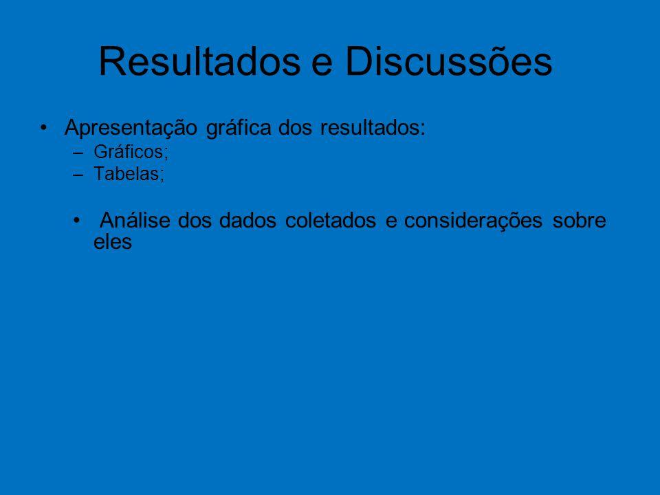 Resultados e Discussões Apresentação gráfica dos resultados: –Gráficos; –Tabelas; Análise dos dados coletados e considerações sobre eles