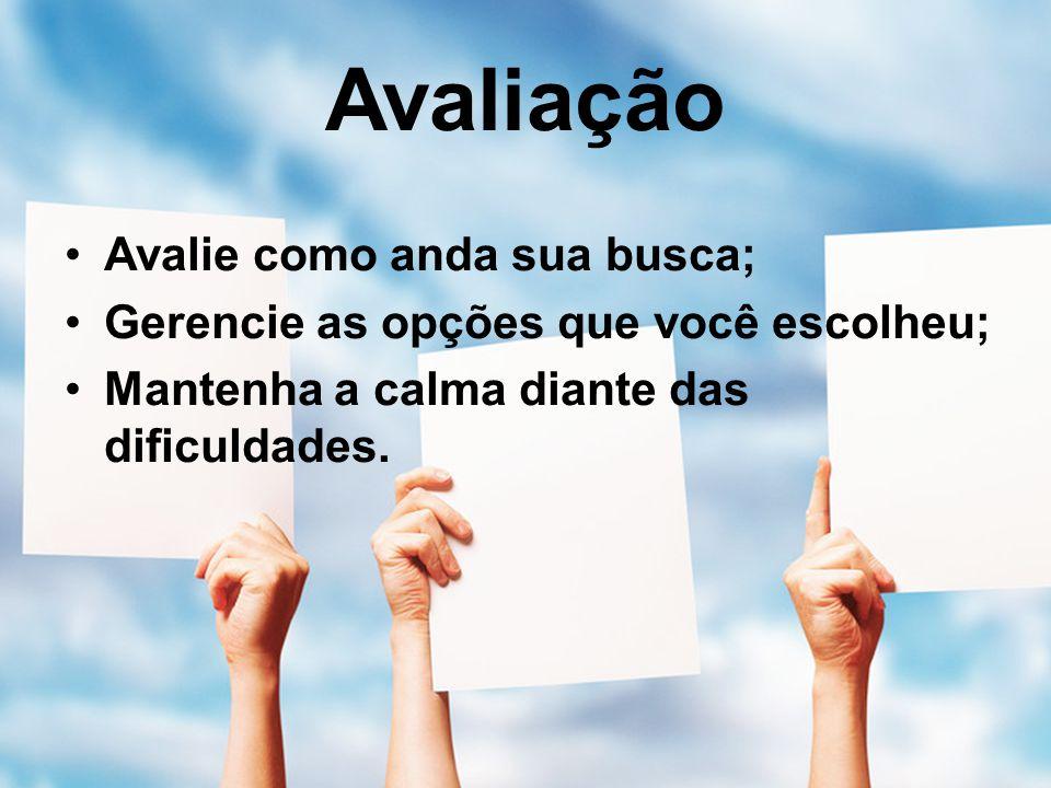 Avaliação Avalie como anda sua busca; Gerencie as opções que você escolheu; Mantenha a calma diante das dificuldades.