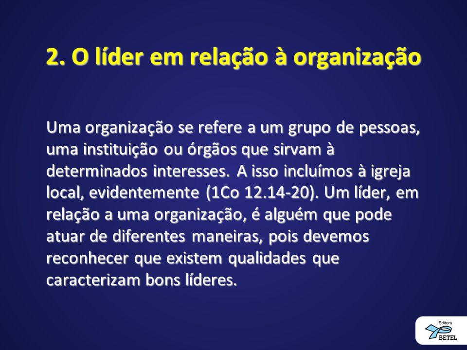 2. O líder em relação à organização Uma organização se refere a um grupo de pessoas, uma instituição ou órgãos que sirvam à determinados interesses. A