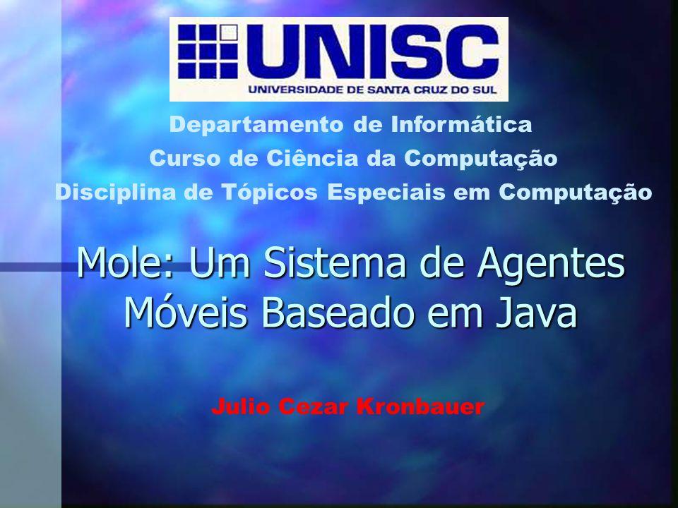Mole: Um Sistema de Agentes Móveis Baseado em Java Curso de Ciência da Computação Departamento de Informática Disciplina de Tópicos Especiais em Computação Julio Cezar Kronbauer