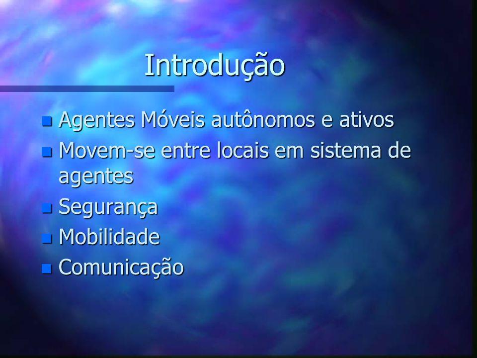 Introdução n Agentes Móveis autônomos e ativos n Movem-se entre locais em sistema de agentes n Segurança n Mobilidade n Comunicação