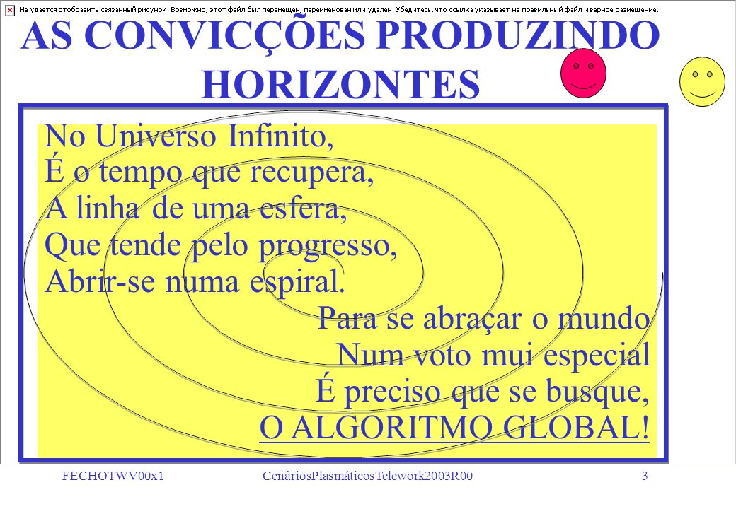 FECHOTWV00x1CenáriosPlasmáticosTelework2003R002 FechoTWV00x1R 59 SLIDES TELEWORK 2003 CENÁRIOS PLASMÁTICOS (Derivações de Reflexões em Busca de Soluções) A CONCRETUDE DA IDÉIA