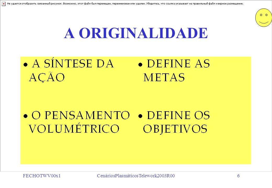 FECHOTWV00x1CenáriosPlasmáticosTelework2003R0016 MODELAGEM DE FORMAS PROGRAMAS ATIVIDADEAGENTE UNIDADE DE SERVIÇO CLIENTE FAIXA ETÁRIA ÓRGÃO/FUNÇÃO PROCEDIMENTOS FINALIDADE PLANO DE INSERÇÃO