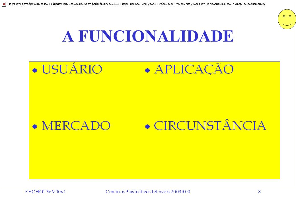 FECHOTWV00x1CenáriosPlasmáticosTelework2003R008 A FUNCIONALIDADE