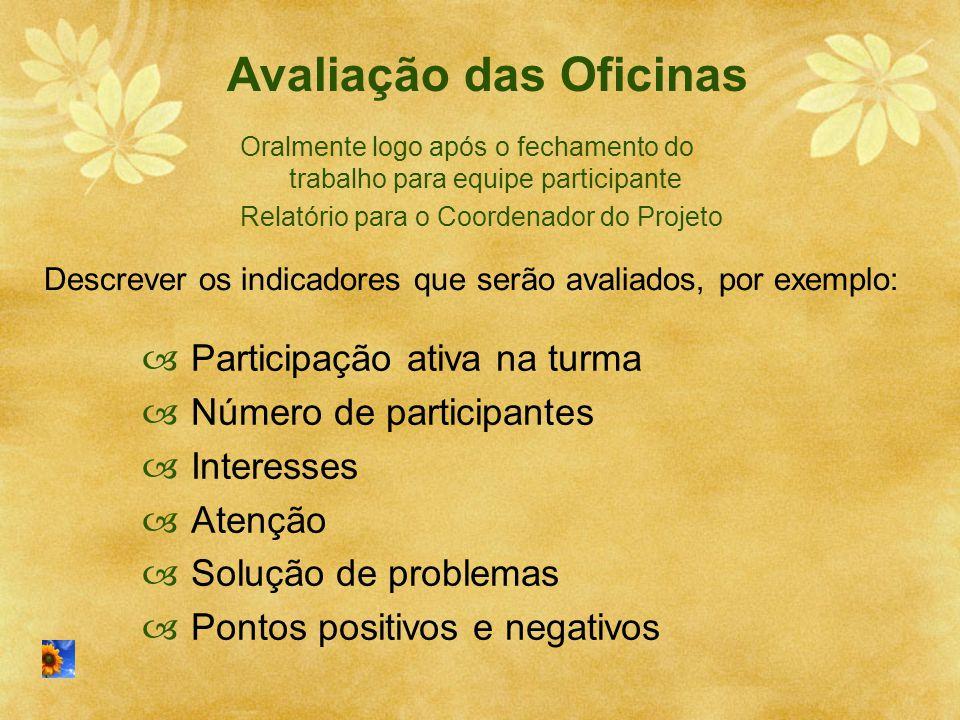 Avaliação das Oficinas  Participação ativa na turma  Número de participantes  Interesses  Atenção  Solução de problemas  Pontos positivos e nega