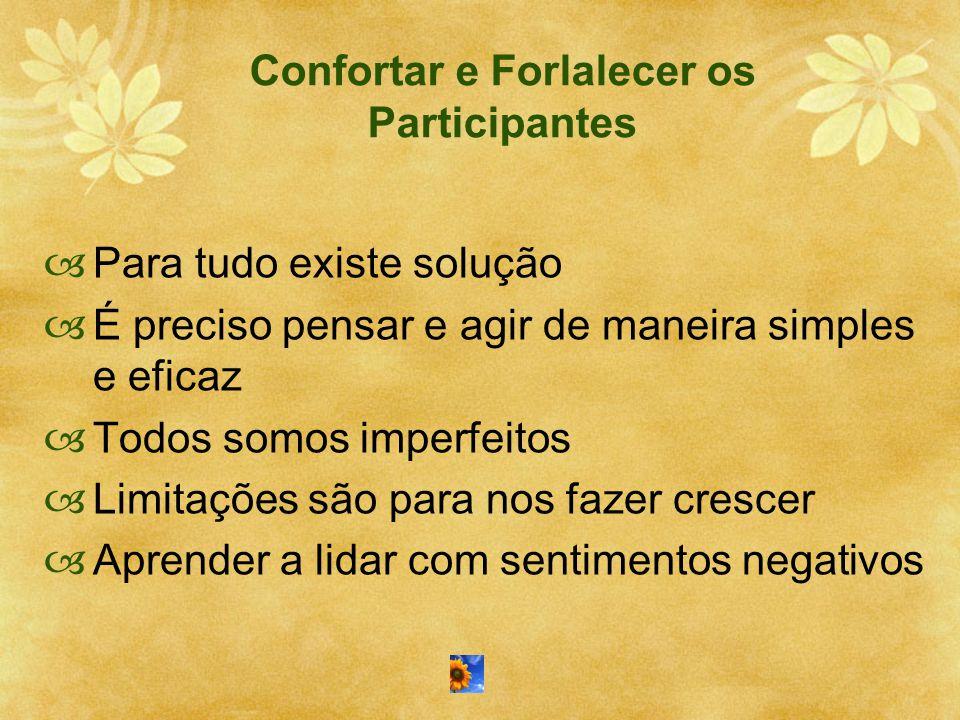 Confortar e Forlalecer os Participantes  Para tudo existe solução  É preciso pensar e agir de maneira simples e eficaz  Todos somos imperfeitos  L