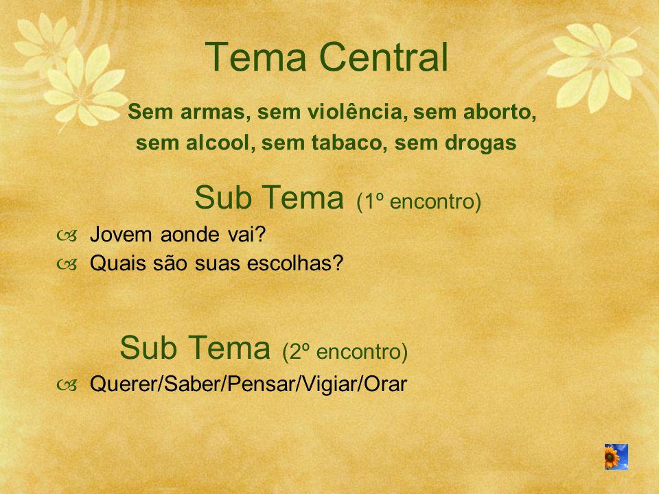 Tema Central Sem armas, sem violência, sem aborto, sem alcool, sem tabaco, sem drogas Sub Tema (1º encontro)  Jovem aonde vai?  Quais são suas escol