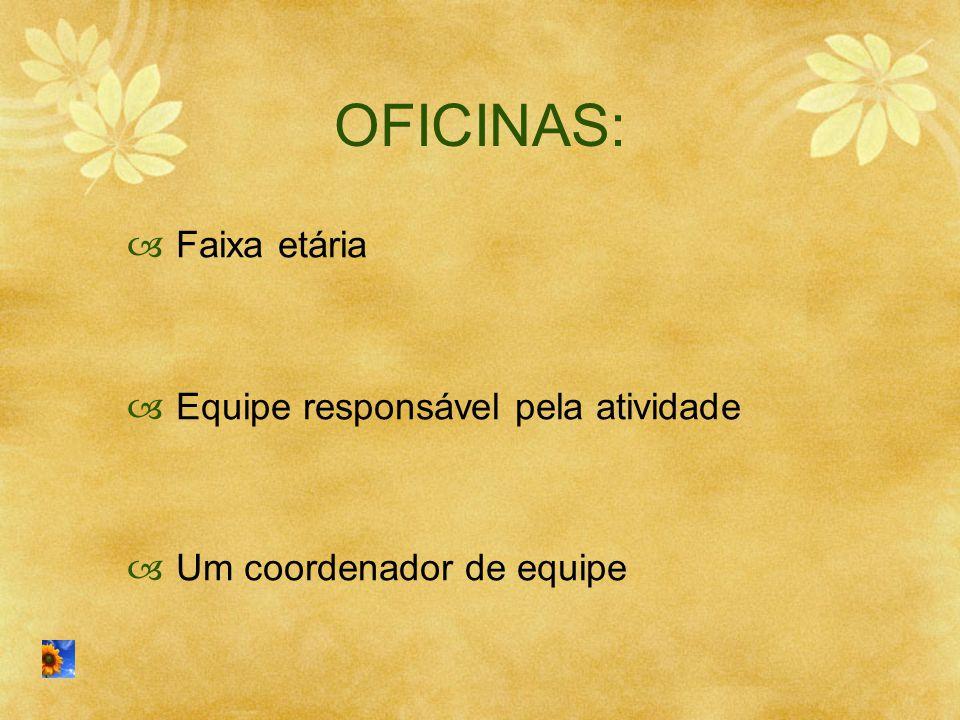 OFICINAS:  Faixa etária  Equipe responsável pela atividade  Um coordenador de equipe