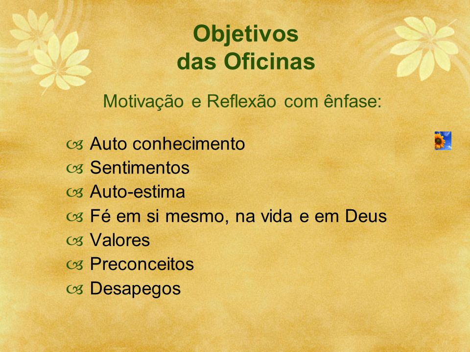 Objetivos das Oficinas  Auto conhecimento  Sentimentos  Auto-estima  Fé em si mesmo, na vida e em Deus  Valores  Preconceitos  Desapegos Motiva
