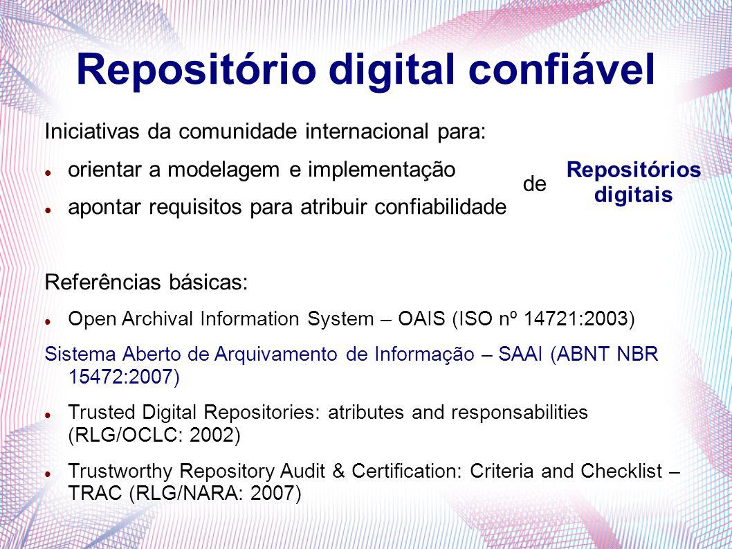 Repositório digital confiável Iniciativas da comunidade internacional para: orientar a modelagem e implementação apontar requisitos para atribuir conf