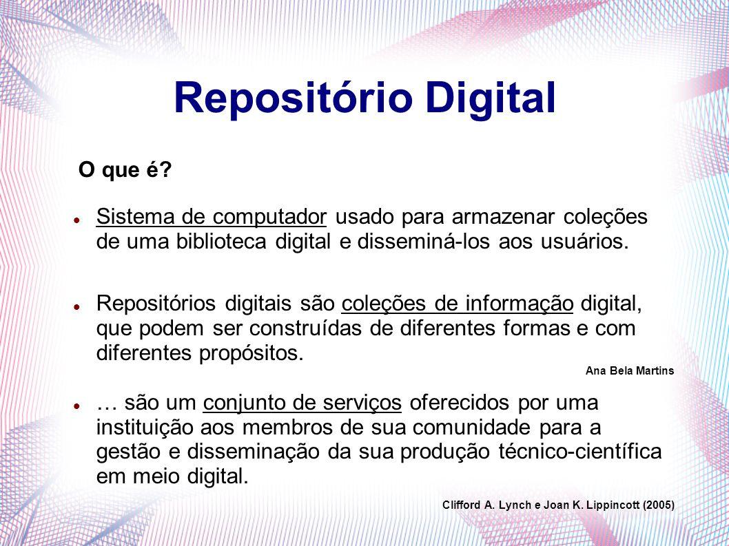 Repositório Digital Sistema de computador usado para armazenar coleções de uma biblioteca digital e disseminá-los aos usuários. Repositórios digitais