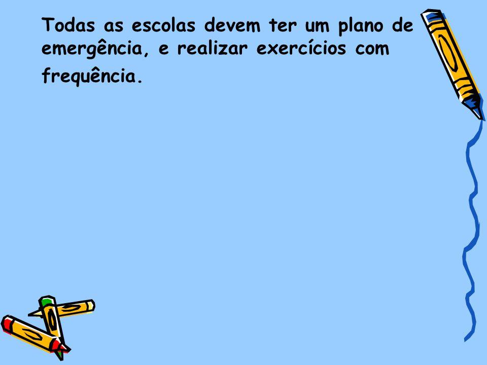 Todas as escolas devem ter um plano de emergência, e realizar exercícios com frequência.