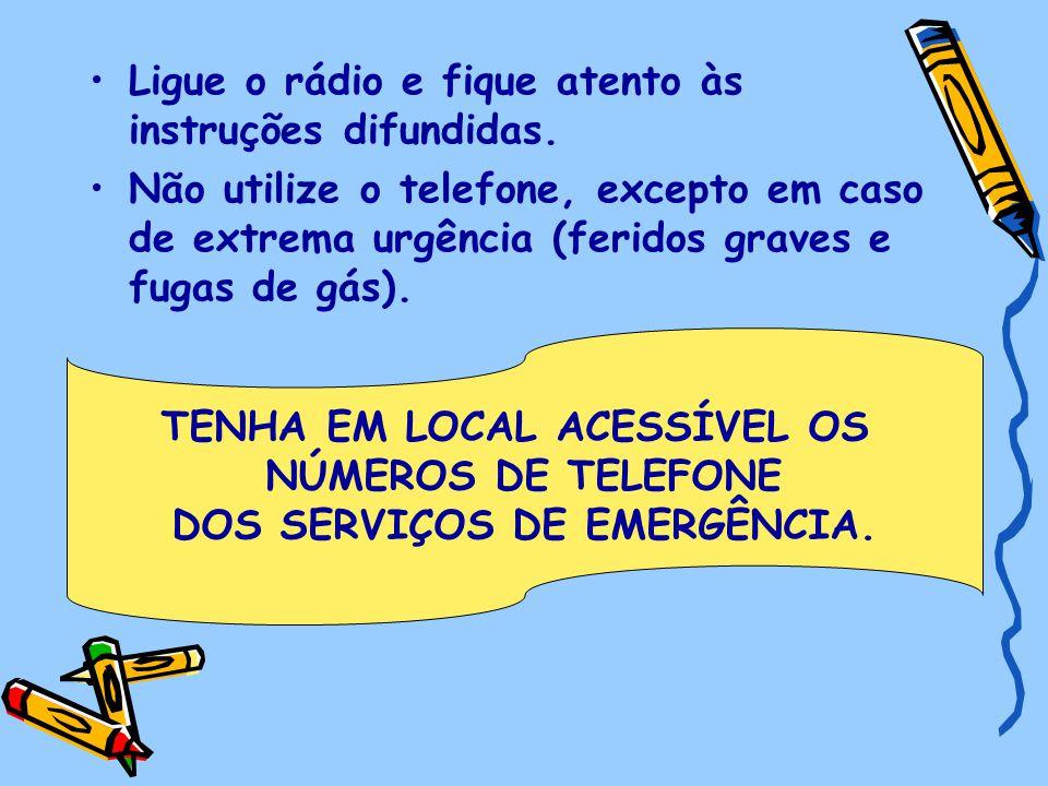 Ligue o rádio e fique atento às instruções difundidas. Não utilize o telefone, excepto em caso de extrema urgência (feridos graves e fugas de gás). TE