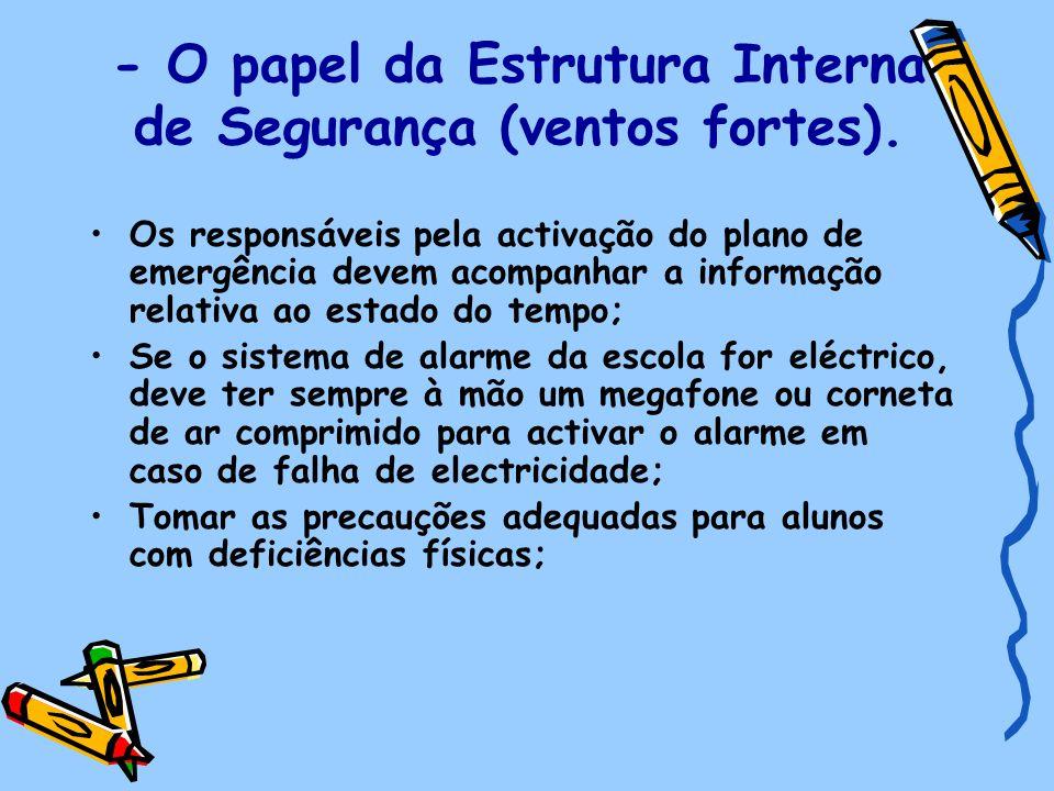 - O papel da Estrutura Interna de Segurança (ventos fortes). Os responsáveis pela activação do plano de emergência devem acompanhar a informação relat