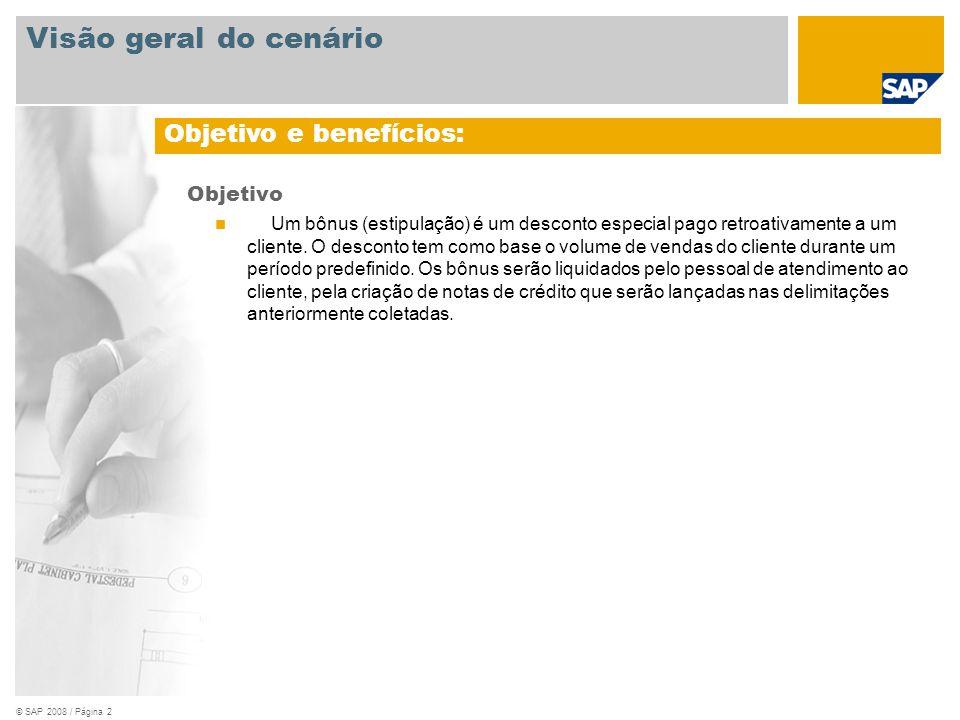 © SAP 2008 / Página 2 Objetivo Um bônus (estipulação) é um desconto especial pago retroativamente a um cliente.