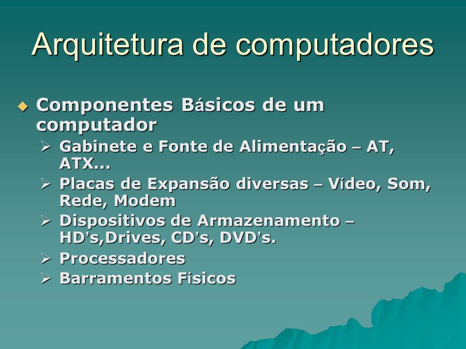 Arquitetura de computadores  Componentes B á sicos de um computador  Gabinete e Fonte de Alimenta ç ão – AT, ATX...  Placas de Expansão diversas –
