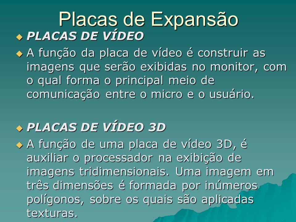 Placas de Expansão  PLACAS DE VÍDEO  A função da placa de vídeo é construir as imagens que serão exibidas no monitor, com o qual forma o principal m
