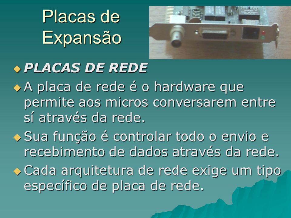 Placas de Expansão  PLACAS DE REDE  A placa de rede é o hardware que permite aos micros conversarem entre sí através da rede.  Sua função é control
