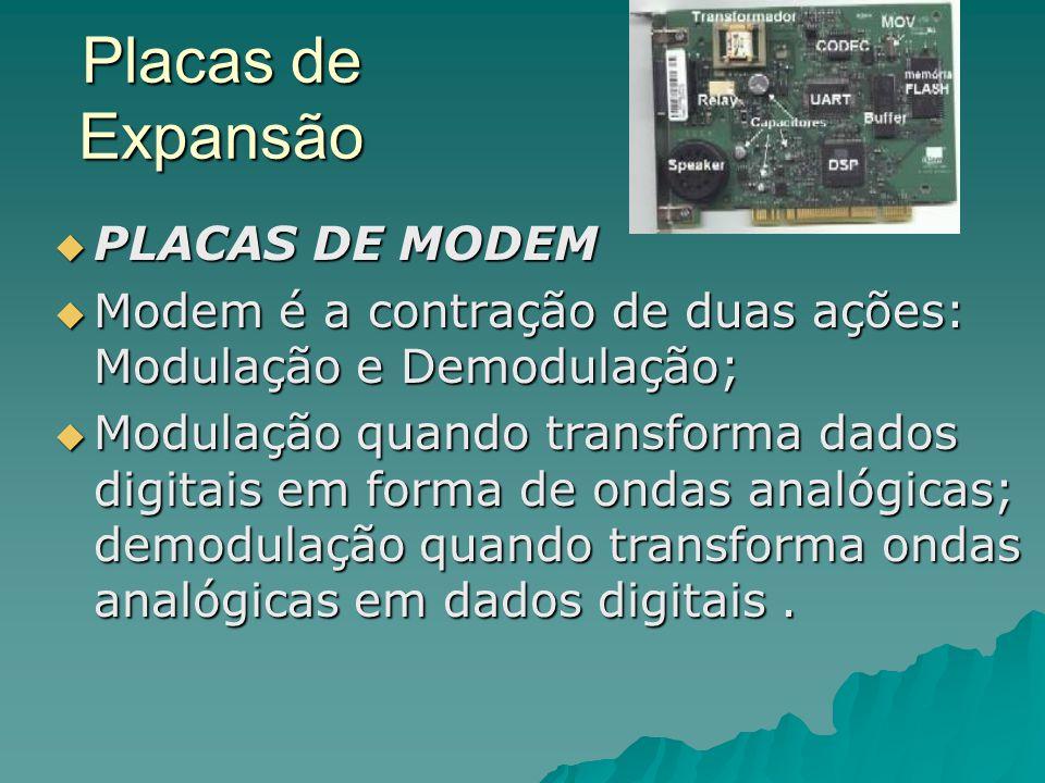 Placas de Expansão  PLACAS DE MODEM  Modem é a contração de duas ações: Modulação e Demodulação;  Modulação quando transforma dados digitais em for