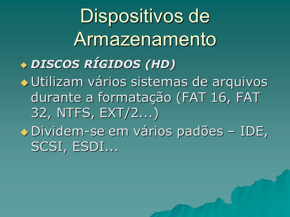 Dispositivos de Armazenamento  DISCOS RÍGIDOS (HD)  Utilizam vários sistemas de arquivos durante a formatação (FAT 16, FAT 32, NTFS, EXT/2...)  Div