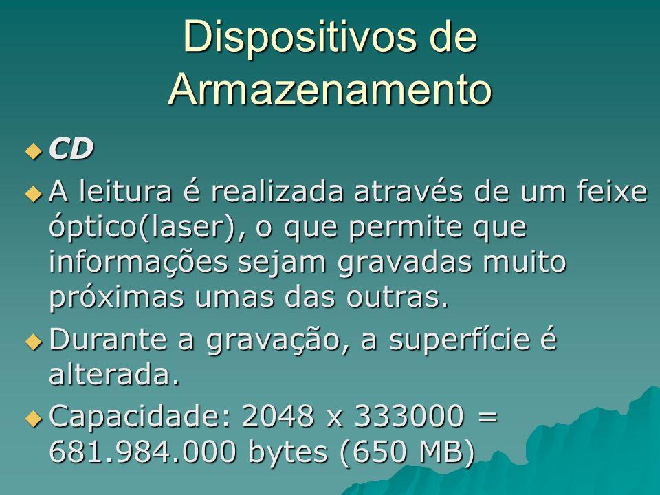 Dispositivos de Armazenamento  CD  A leitura é realizada através de um feixe óptico(laser), o que permite que informações sejam gravadas muito próxi