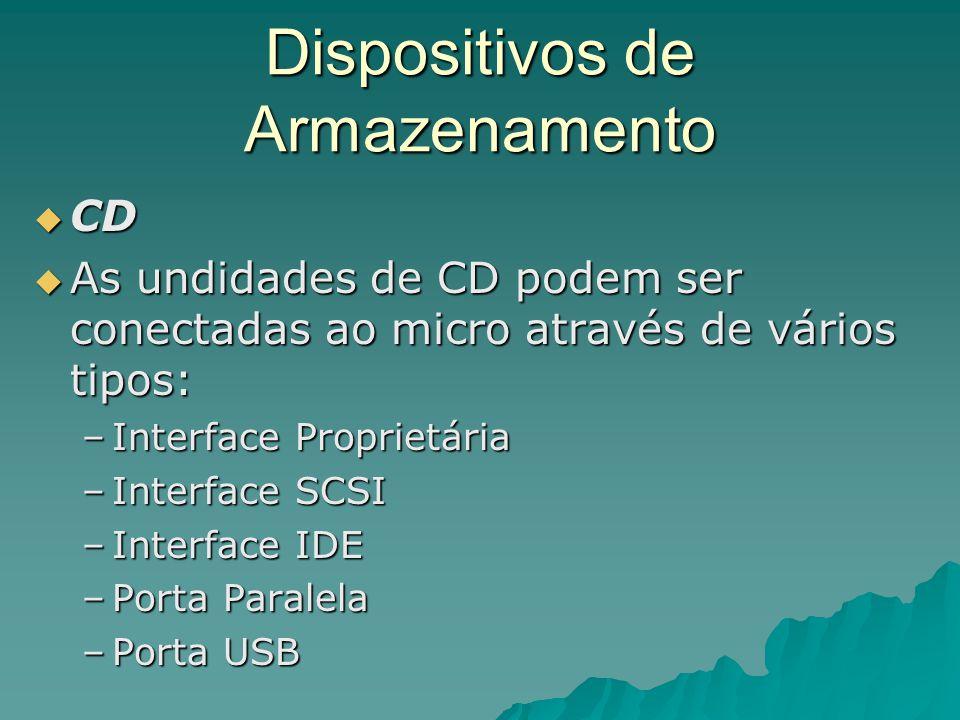 Dispositivos de Armazenamento  CD  As undidades de CD podem ser conectadas ao micro através de vários tipos: –Interface Proprietária –Interface SCSI