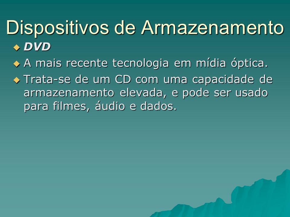 Dispositivos de Armazenamento  DVD  A mais recente tecnologia em mídia óptica.  Trata-se de um CD com uma capacidade de armazenamento elevada, e po