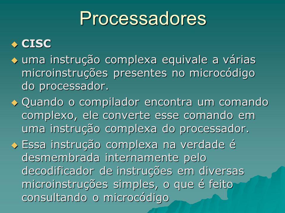 Processadores  CISC - Complex Instruction Set Computer Programa (linguagem de alto nível) Compilador Simples Linguagem de Máquina (Inst.