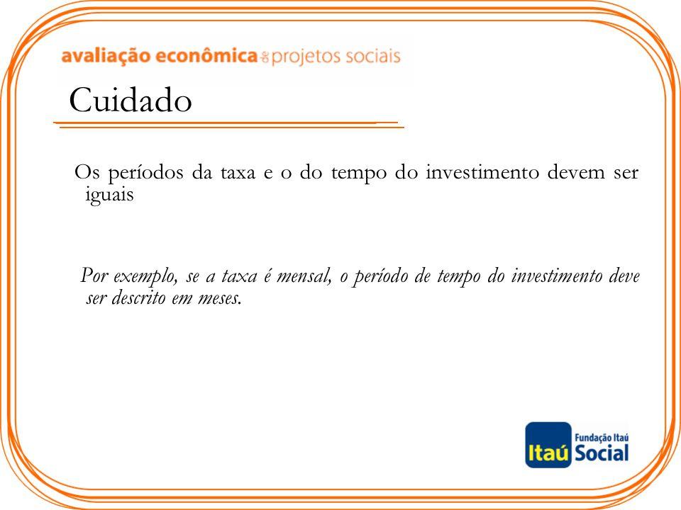 Cuidado Os períodos da taxa e o do tempo do investimento devem ser iguais Por exemplo, se a taxa é mensal, o período de tempo do investimento deve ser