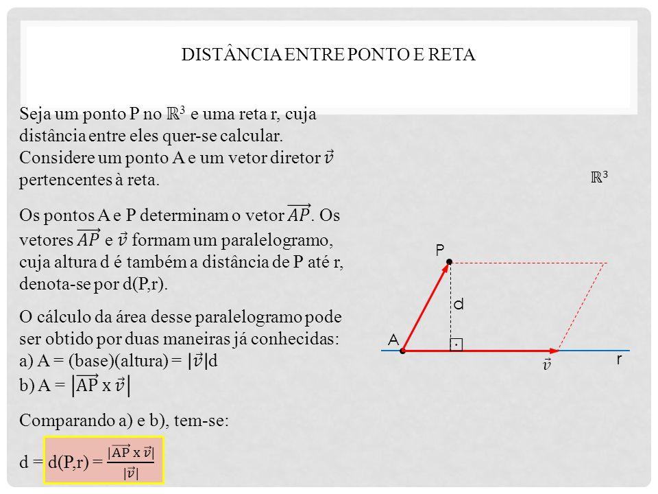 P A r d ℝ3ℝ3 DISTÂNCIA ENTRE PONTO E RETA