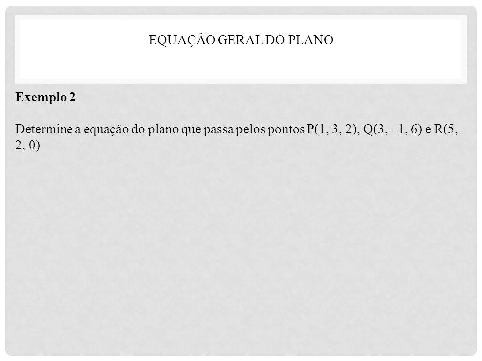 Exemplo 2 Determine a equação do plano que passa pelos pontos P(1, 3, 2), Q(3, –1, 6) e R(5, 2, 0)
