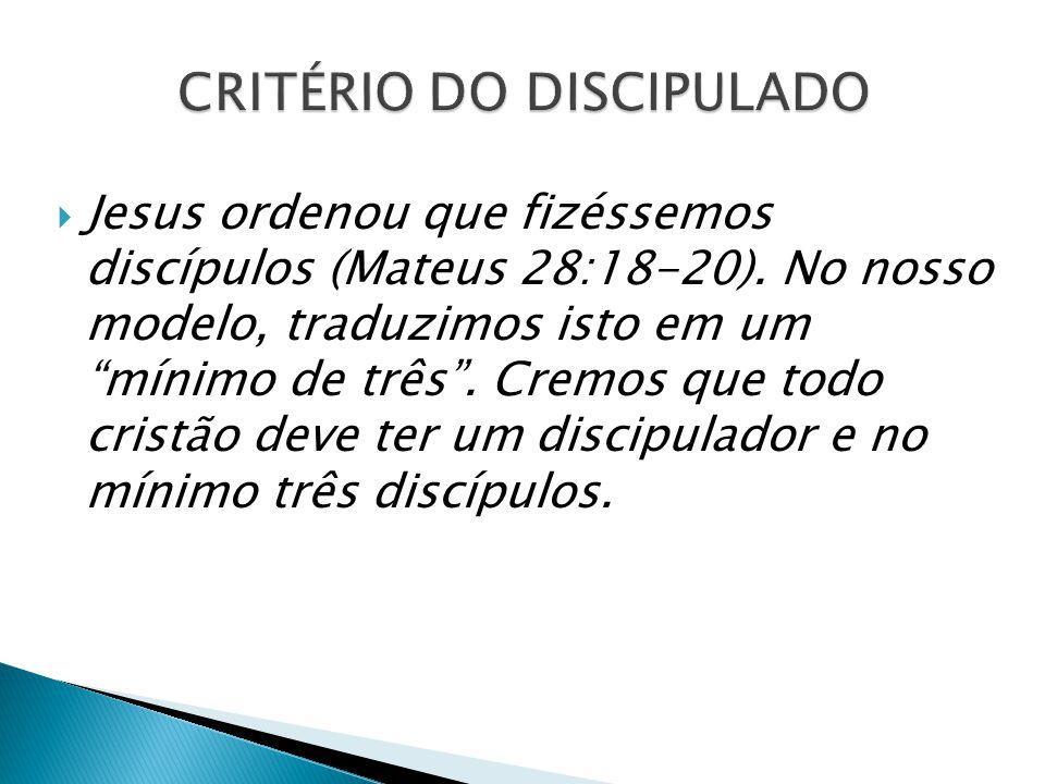""" Jesus ordenou que fizéssemos discípulos (Mateus 28:18-20). No nosso modelo, traduzimos isto em um """"mínimo de três"""". Cremos que todo cristão deve ter"""