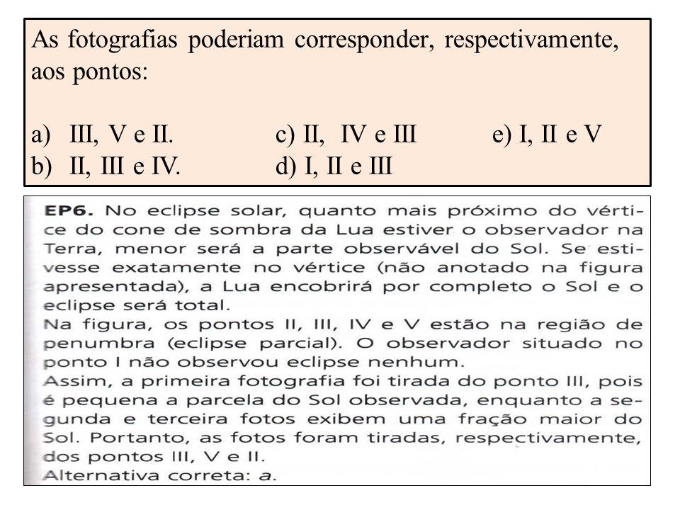 As fotografias poderiam corresponder, respectivamente, aos pontos: a)III, V e II.