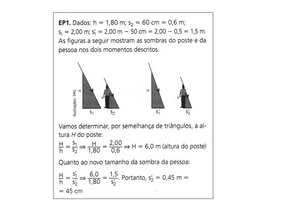 Atividade 2 (pág 151): Em um dia ensolarado, um homem com 2,0 m de altura está parado a uma distância de 20 m de um poste de tamanho 12 m.
