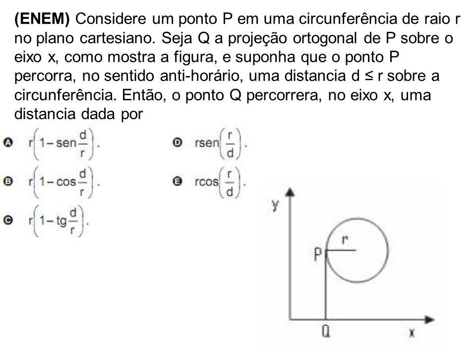 (ENEM) Considere um ponto P em uma circunferência de raio r no plano cartesiano. Seja Q a projeção ortogonal de P sobre o eixo x, como mostra a figura