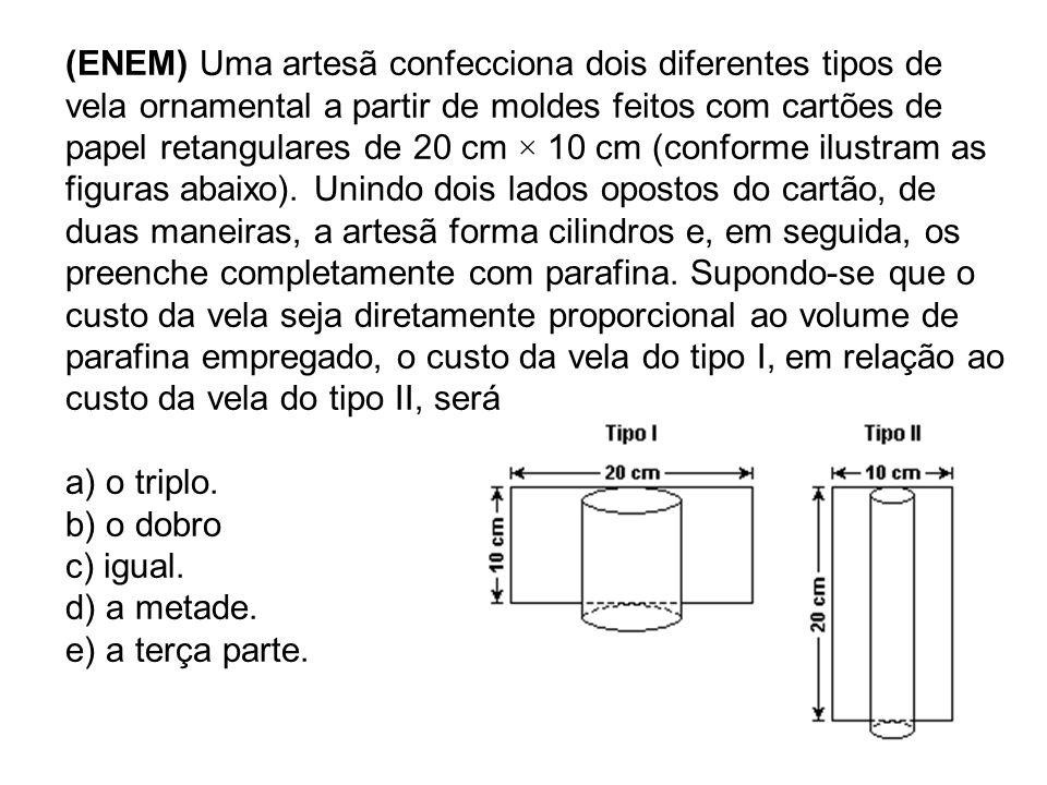 (ENEM) Uma artesã confecciona dois diferentes tipos de vela ornamental a partir de moldes feitos com cartões de papel retangulares de 20 cm × 10 cm (c