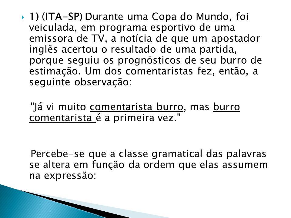  1) (ITA-SP) Durante uma Copa do Mundo, foi veiculada, em programa esportivo de uma emissora de TV, a notícia de que um apostador inglês acertou o re