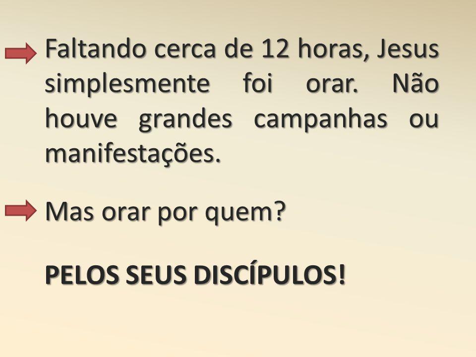 Faltando cerca de 12 horas, Jesus simplesmente foi orar. Não houve grandes campanhas ou manifestações. Mas orar por quem? PELOS SEUS DISCÍPULOS!