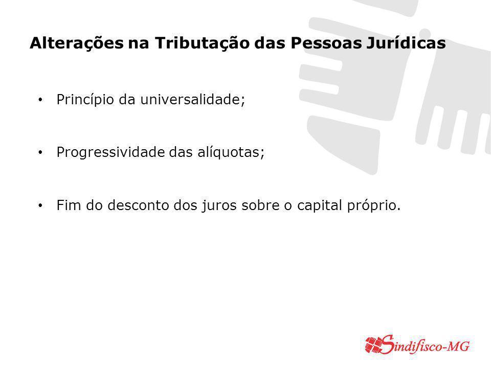 Alterações na Tributação das Pessoas Jurídicas Princípio da universalidade; Progressividade das alíquotas; Fim do desconto dos juros sobre o capital próprio.