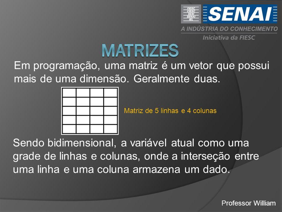 Professor William Em programação, uma matriz é um vetor que possui mais de uma dimensão. Geralmente duas. Matriz de 5 linhas e 4 colunas Sendo bidimen
