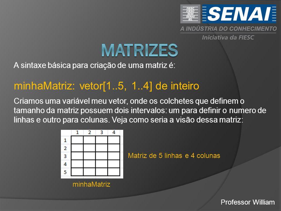 Professor William A sintaxe básica para criação de uma matriz é: minhaMatriz: vetor[1..5, 1..4] de inteiro Criamos uma variável meu vetor, onde os colchetes que definem o tamanho da matriz possuem dois intervalos: um para definir o numero de linhas e outro para colunas.