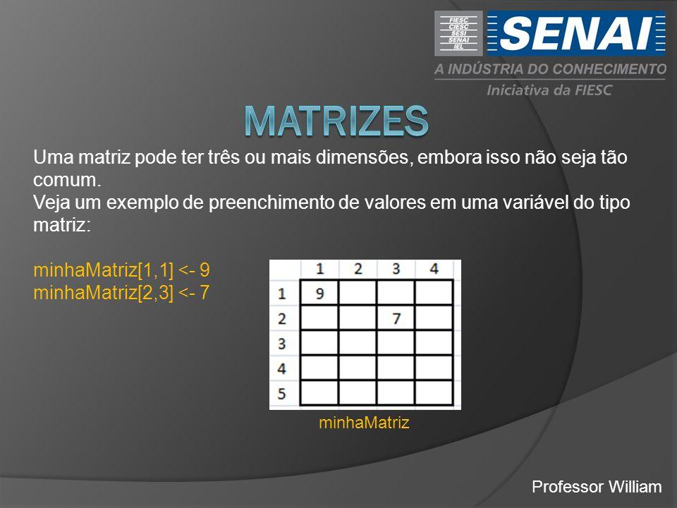 Professor William Uma matriz pode ter três ou mais dimensões, embora isso não seja tão comum. Veja um exemplo de preenchimento de valores em uma variá