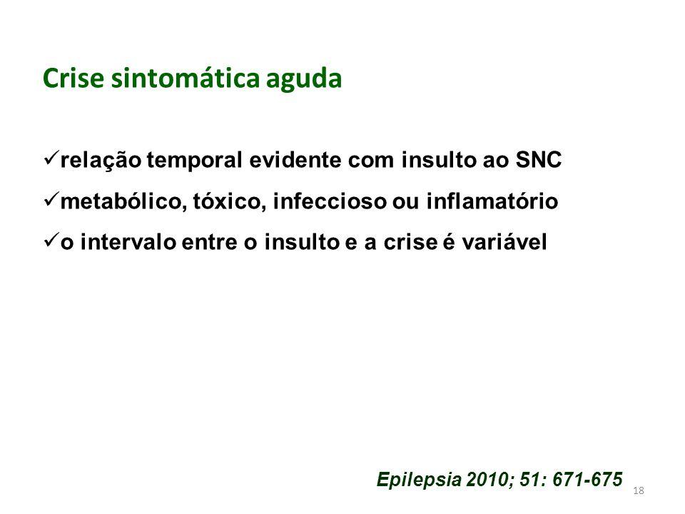 18 Crise sintomática aguda relação temporal evidente com insulto ao SNC metabólico, tóxico, infeccioso ou inflamatório o intervalo entre o insulto e a