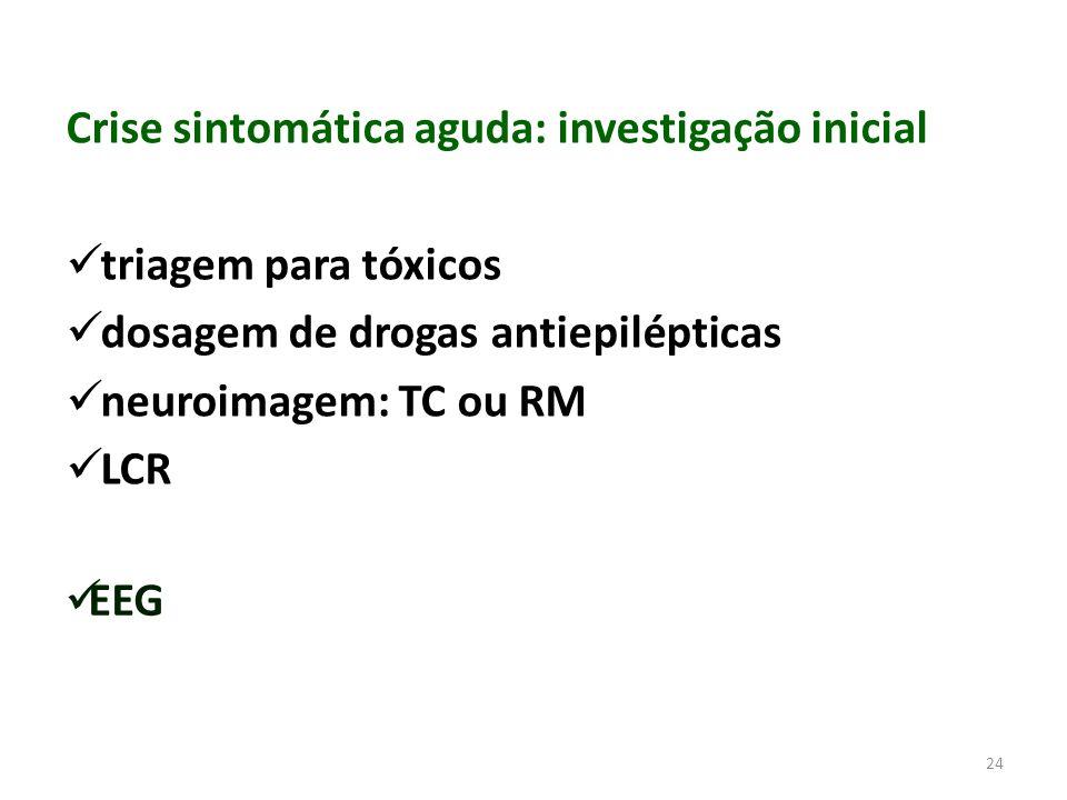 24 Crise sintomática aguda: investigação inicial triagem para tóxicos dosagem de drogas antiepilépticas neuroimagem: TC ou RM LCR EEG