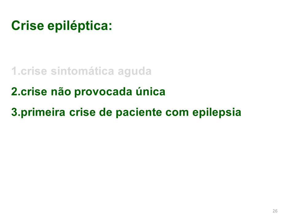 26 Crise epiléptica: 1.crise sintomática aguda 2.crise não provocada única 3.primeira crise de paciente com epilepsia
