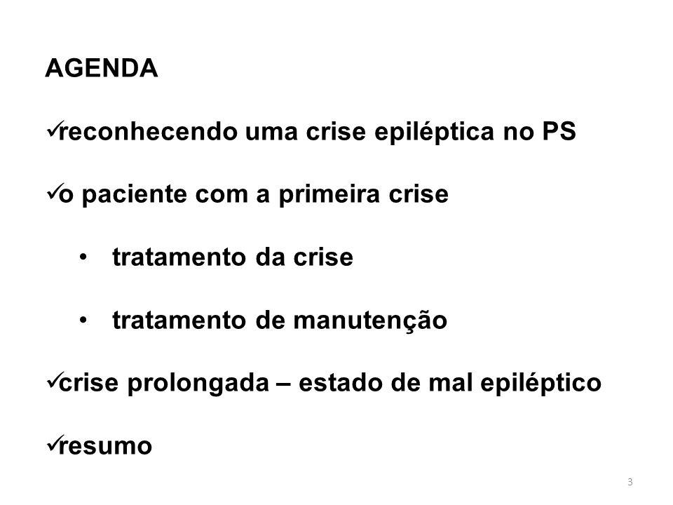 3 AGENDA reconhecendo uma crise epiléptica no PS o paciente com a primeira crise tratamento da crise tratamento de manutenção crise prolongada – estad