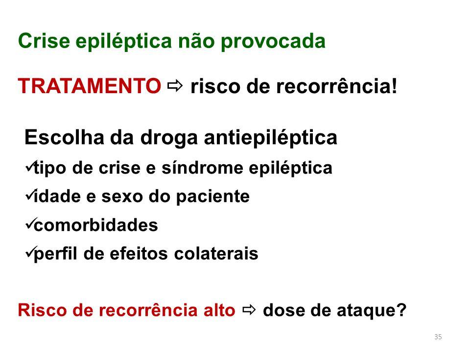 35 Crise epiléptica não provocada TRATAMENTO  risco de recorrência! Escolha da droga antiepiléptica tipo de crise e síndrome epiléptica idade e sexo